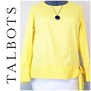 🎀 3/$25! Talbots Side Tie Yellow Blouse